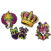 Mardi Gras Cutouts 16in 4ct