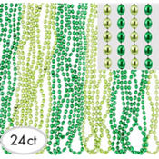 St. Patricks Day Transparent Green Bead Necklaces 30in 24ct<span class=messagesale><br><b>29¢ per piece!</b></br></span>