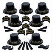 Black and Gold Champagne New Years Party Kit For 50