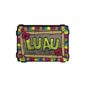 Luau Sign with Floral Trim 23in
