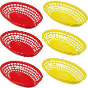 Red & Yellow 9in Plastic Baskets 6ct