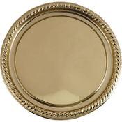 Gold Plastic Round Platter 12in