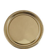 Gold Plastic Round Platter 12in