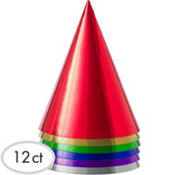 Metallic Colored Party Hats 12ct