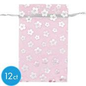 Pink Floral Organza Bags 12ct