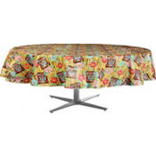 Tiki Time Round Vinyl Table Cover 60in
