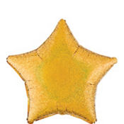 Foil Prismatic Gold Star Balloon 19in