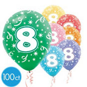 Number 8 Assorted Color 12in Latex Balloons 100ct