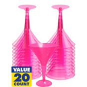Transparent Pink Plastic Martini Glasses 8oz 20ct
