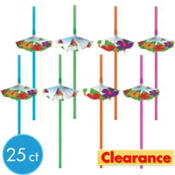 Summer Brights Parasol Straws 25ct
