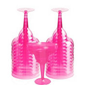 Transparent Pink Plastic Margarita Glasses 8oz 20ct