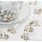 Silver Double Bell Wedding Favor Charms 12ct