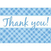 Blue Plaid Baby Shower Thank You Notes 8ct