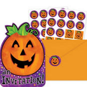 Cheery Pumpkin Halloween Invitations Value Pack 20ct