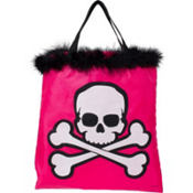 Pink Skull & Crossbones Treat Bag 12in