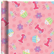 1st Birthday Girl Gift Wrap 5ft