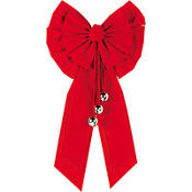 Red Holiday Bow with Bells 27in