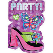 Glitzy Girl Party Invitations 8ct