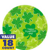 Playful Shamrocks St. Patricks Day Dessert Plates 18ct
