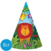 Jungle Animals Party Hats 8ct