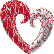 Foil XO Heart Pattern Valentines Day Balloon 32in