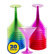 Assorted Color Plastic Martini Glasses 8oz 20ct