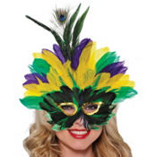 Crown Feather Mardi Gras Mask