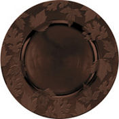 Brown Embossed Round Plastic Charger