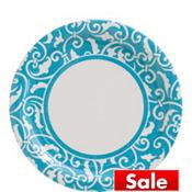 Caribbean Blue Ornamental Scroll Lunch Plates 8ct