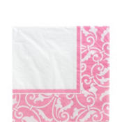 Pink Ornamental Scroll Lunch Napkins 16ct