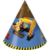 Under Construction Party Hats 8ct