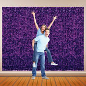 Purple Metallic Floral Sheeting 15ft