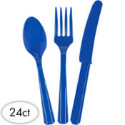 Royal Blue Plastic Cutlery Set 24ct
