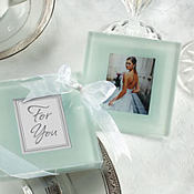 Forever Photo Frosted Glass Coasters Wedding Favor 2ct