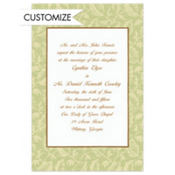 Sage Damask/White Custom Invitation