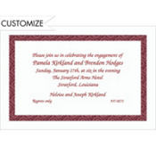 Red Moroccan Border/White Custom Invitation
