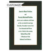 Dark Green Moir/White Custom Invitation