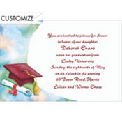 Red Mortarboard and Swoosh Custom Graduation Invitation