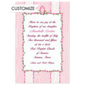 Pink Flowers and Cross Custom Invitation