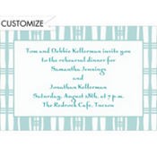 Aqua Plaid Stripe Custom Invitation