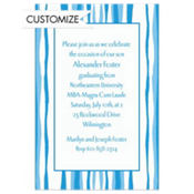 Bikini Blue Water Stripe Custom Invitation