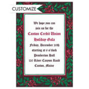 Mistletoe with Red Bows Custom Invitation