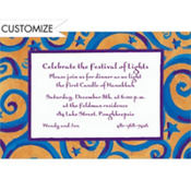 Blue & Gold Swirls Custom Invitation
