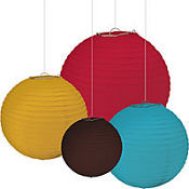 Warm and Cool Assorted Paper Lanterns 4ct