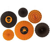 Assorted Halloween Paper Fan Decorations 6ct