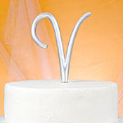 Monogram V Wedding Cake Topper