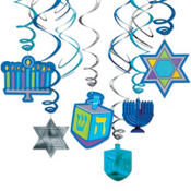 Hanukkah Swirl Hanging Decorations 12ct