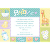 Pastel Patchwork Custom Birth Announcements