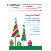 Cute Trees & Gifts Green Custom Invitation
