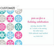 Mod Snowflakes Pink Custom Invitation